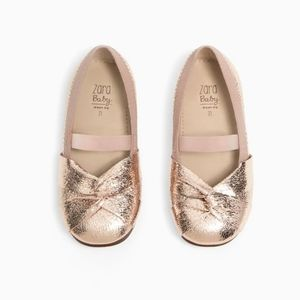 { zara } rose gold metallic ballet flats with knot